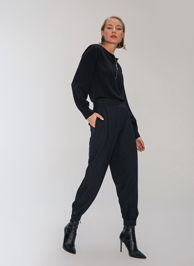 People By Fabrika Nervür Detaylı Pantolon Siyah